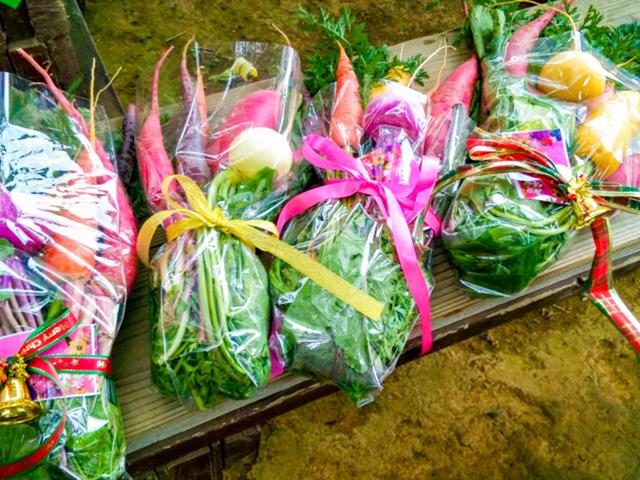 野菜の花束づくり