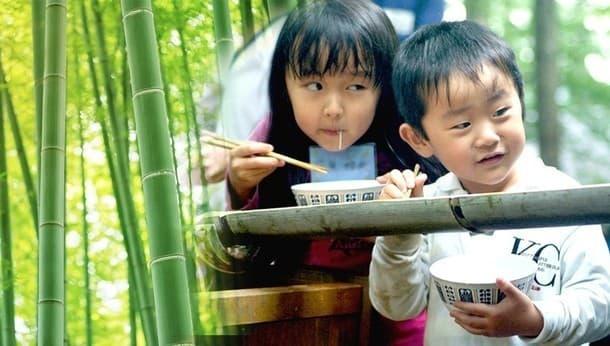 みんなで1から作ろう!涼しい竹林で流しそうめんとかき氷づくり。